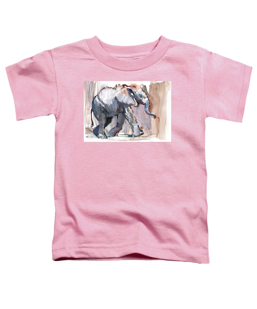 Elephant Toddler T-Shirt featuring the photograph Baby Elephant, 2012 Mixed Media On Paper by Mark Adlington