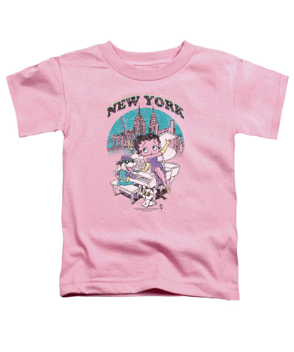Betty Boop Toddler T-Shirt featuring the digital art Boop - Singing In Ny by Brand A