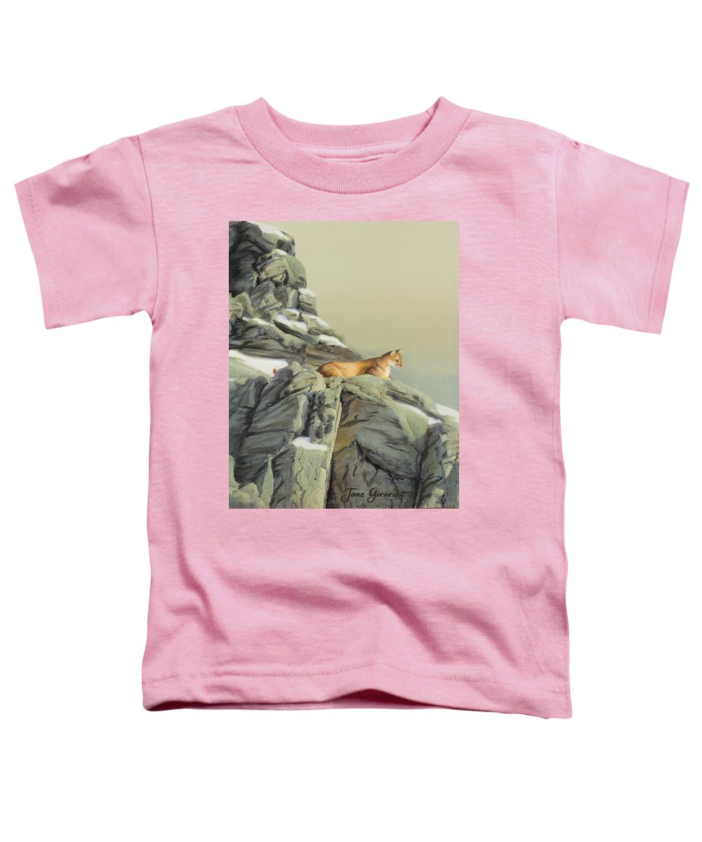 Cougar Toddler T-Shirt featuring the painting Cougar Perch by Jane Girardot
