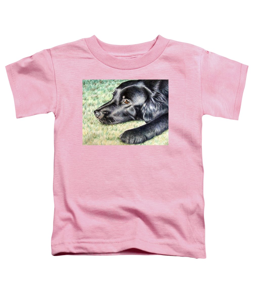 Dog Toddler T-Shirt featuring the painting Flat Coated Retriever by Nicole Zeug