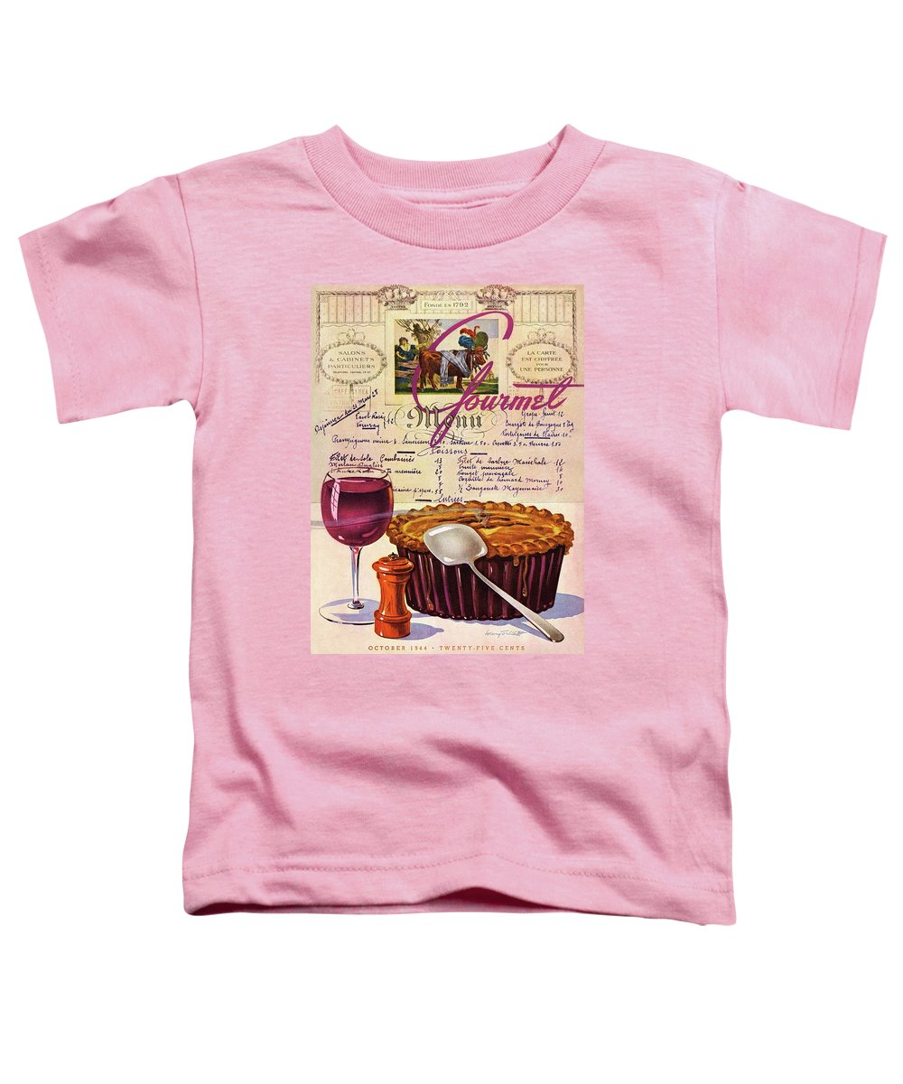 Food Toddler T-Shirt featuring the photograph Gourmet Cover Illustration Of Deep Dish Pie by Henry Stahlhut