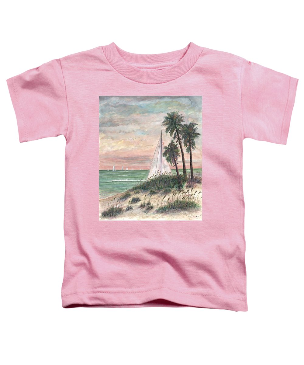 Sailboats; Palm Trees; Ocean; Beach; Sunset Toddler T-Shirt featuring the painting Hideaway by Ben Kiger