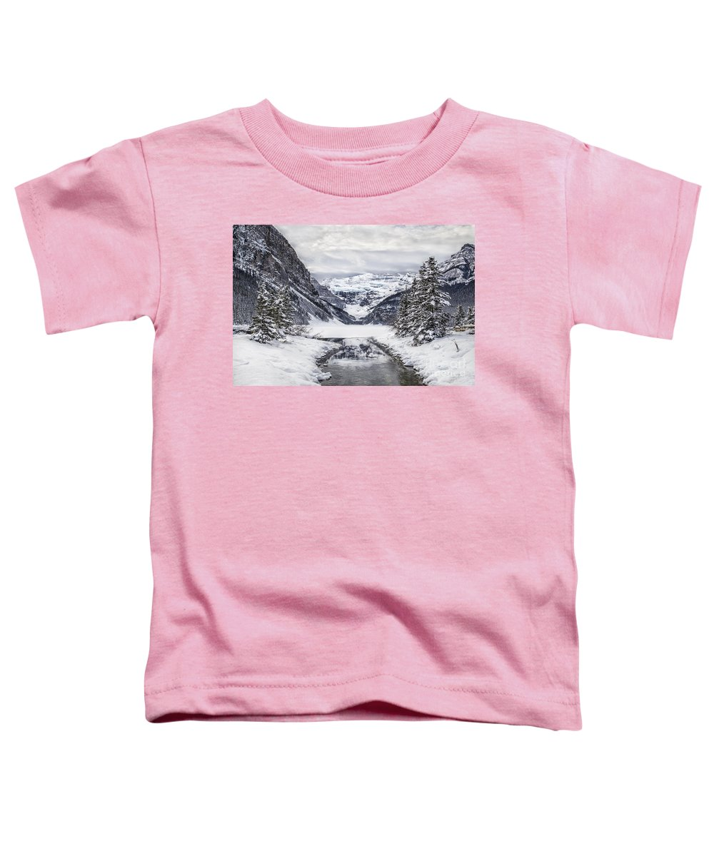 Lake Louise Toddler T-Shirt featuring the photograph In The Heart Of The Winter by Evelina Kremsdorf