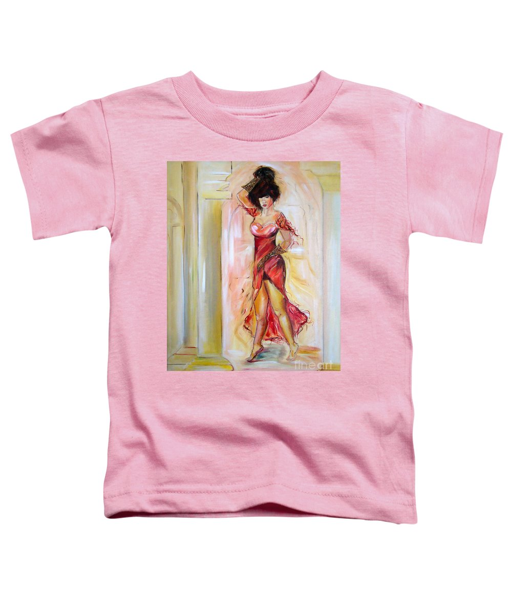 Contemporary Art Toddler T-Shirt featuring the painting Lady In Red by Silvana Abel