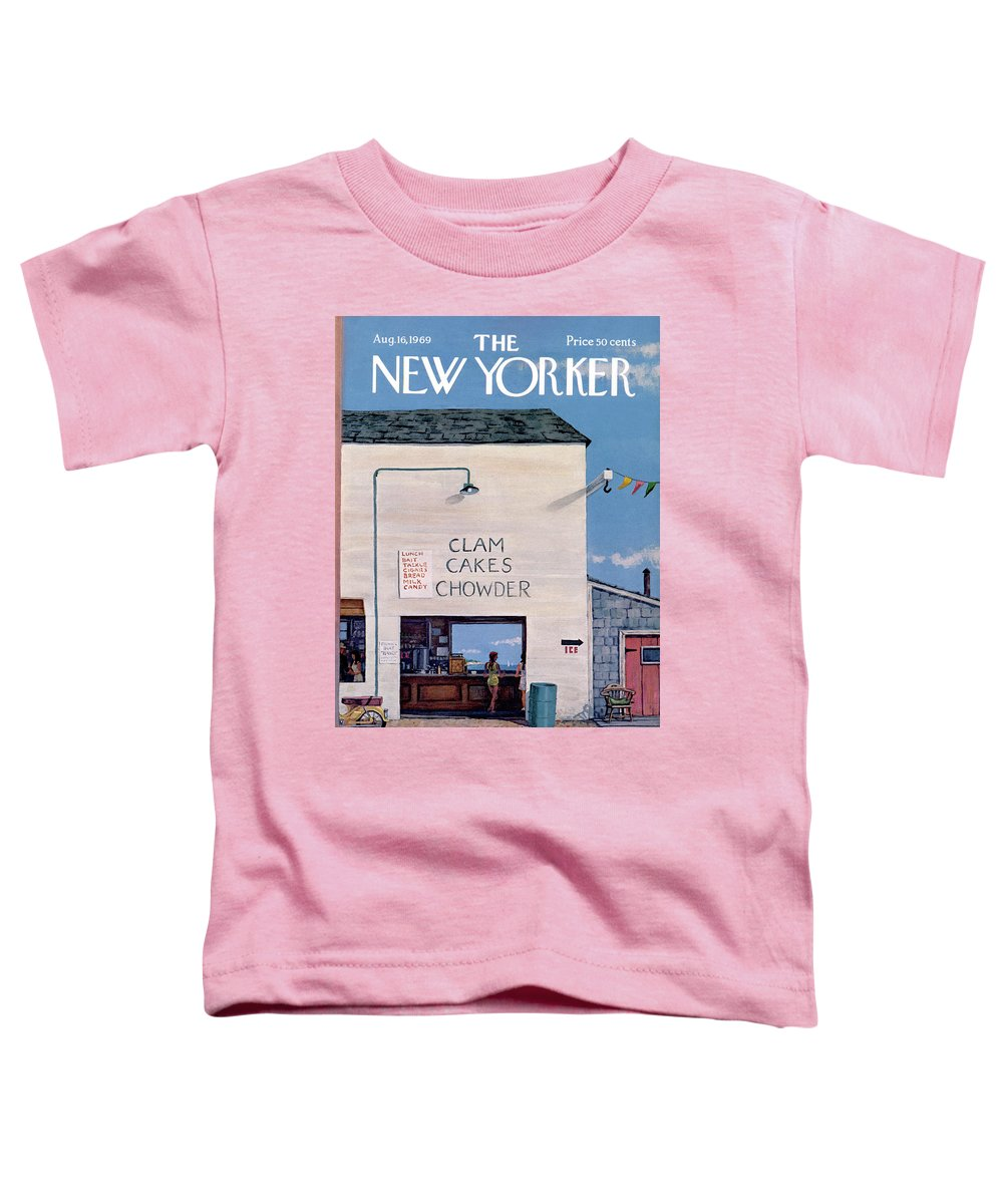 Sea Toddler T-Shirt featuring the painting New Yorker August 16th, 1969 by Albert Hubbell