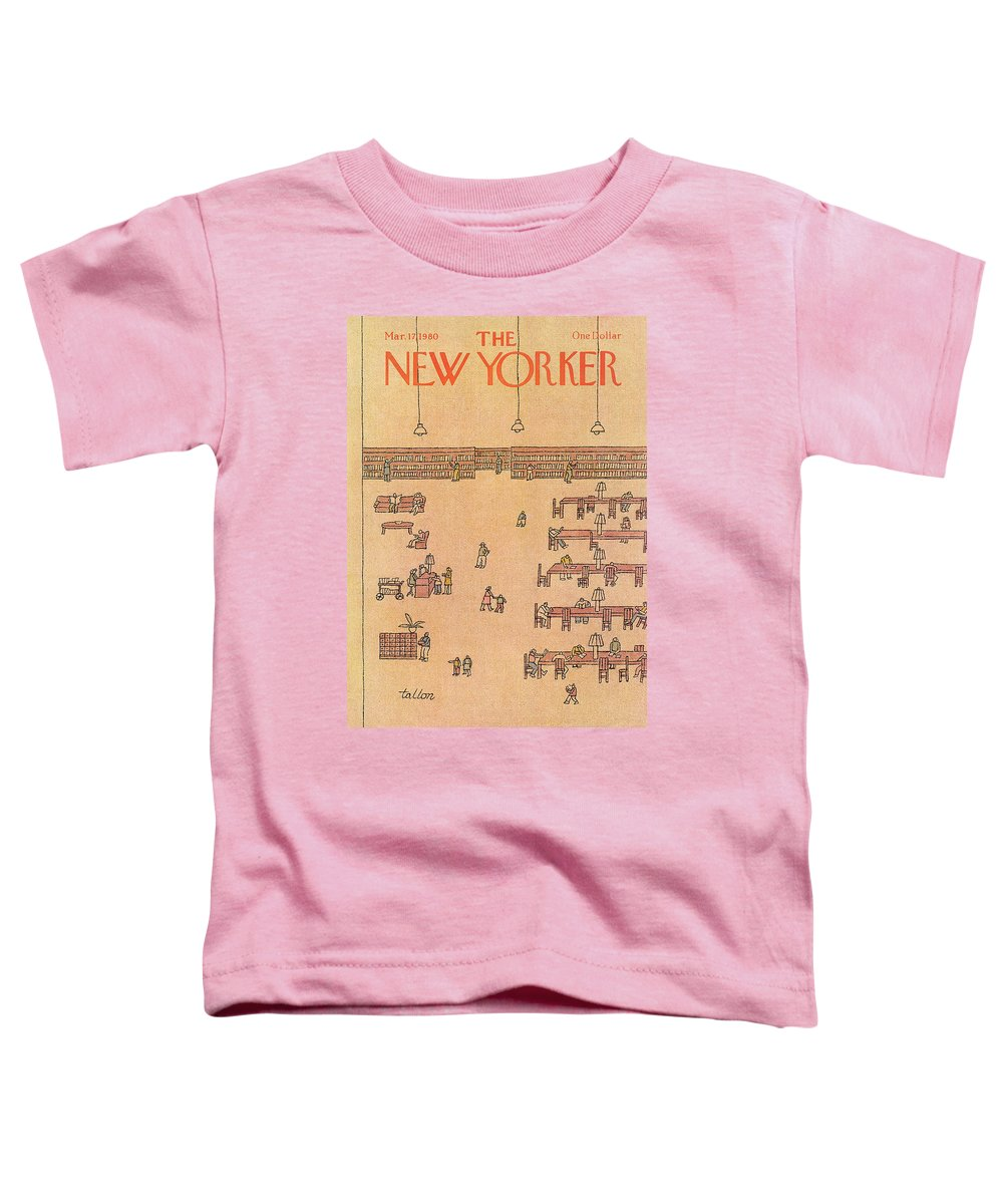 Read Reading Library Study School Learn Learning Book Books Education Quiet Public Robert Tallon Rtl Robert Tallon Rtl Bodinsok Rtl Artkey 50472 Toddler T-Shirt featuring the painting New Yorker March 17th, 1980 by Robert Tallon