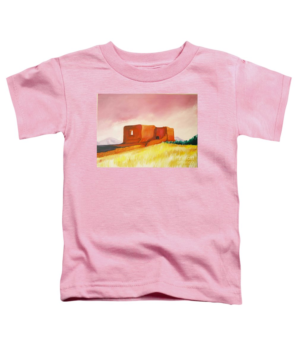 Western Landscapes Toddler T-Shirt featuring the painting Pecos Mission Nm by Eric Schiabor