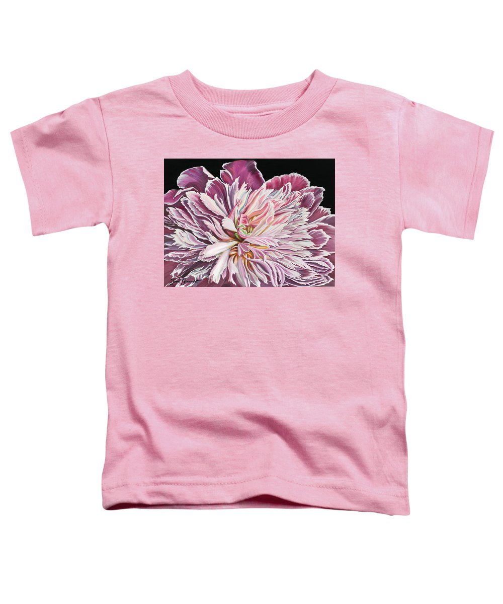 Flower Toddler T-Shirt featuring the painting Pink Peony by Jane Girardot