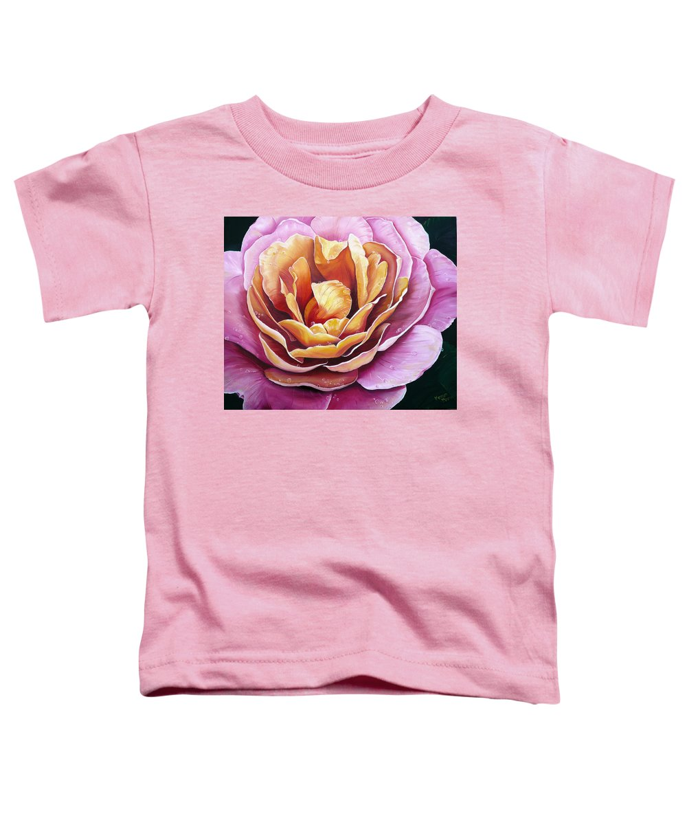 Rose Painting Pink Yellow Floral Painting Flower Bloom Botanical Painting Botanical Painting Toddler T-Shirt featuring the painting Rosy Dew by Karin Dawn Kelshall- Best