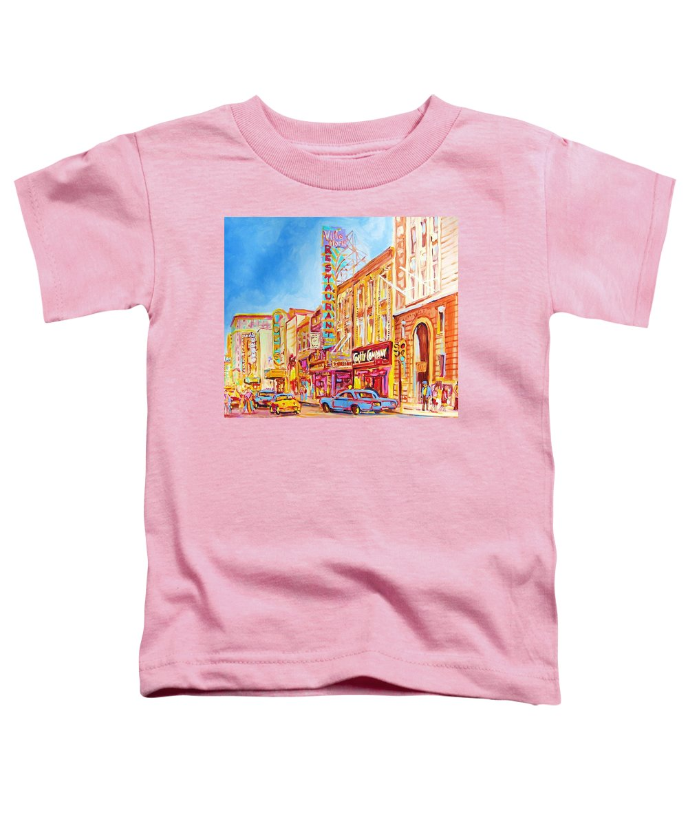 Paintings Of Montreal Toddler T-Shirt featuring the painting Saint Catherine Street Montreal by Carole Spandau