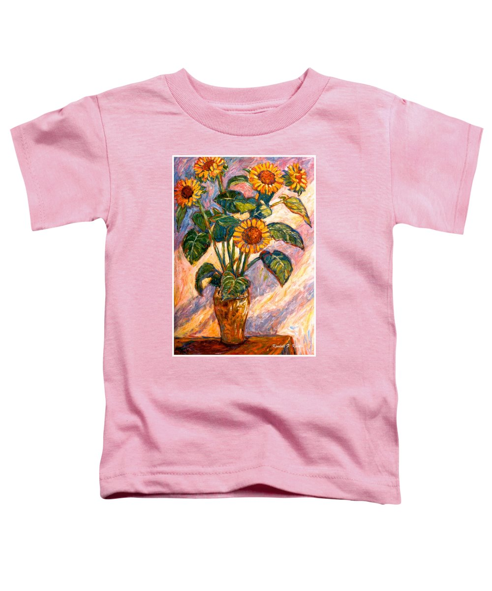 Floral Toddler T-Shirt featuring the painting Shadows On Sunflowers by Kendall Kessler