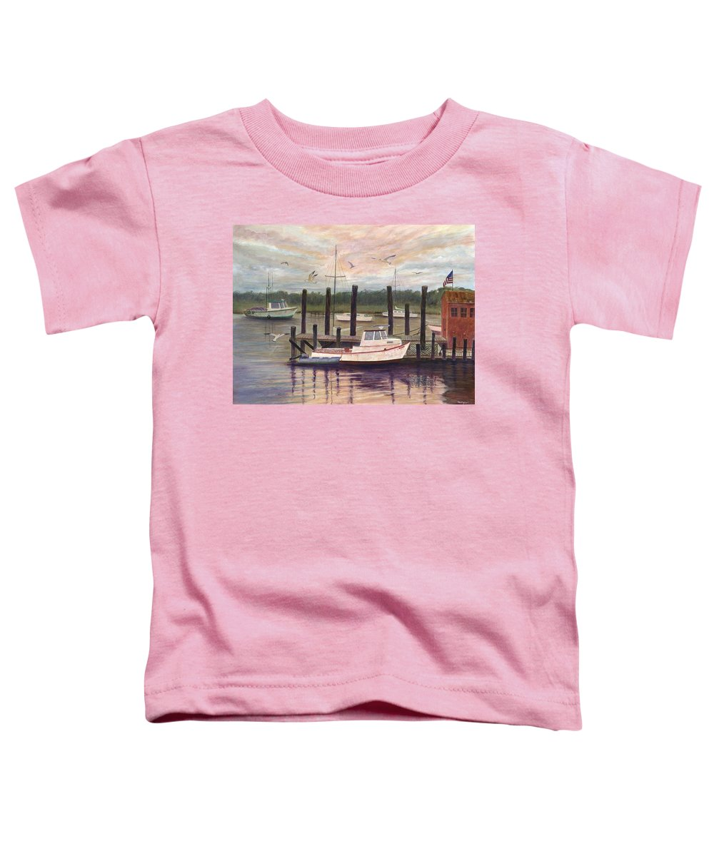 Charleston; Boats; Fishing Dock; Water Toddler T-Shirt featuring the painting Shem Creek by Ben Kiger