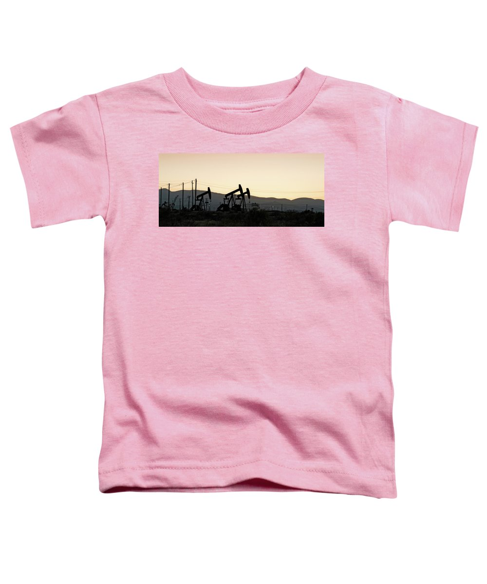 Photography Toddler T-Shirt featuring the photograph Silhouette Of Oil Rigs At Sunset by Panoramic Images