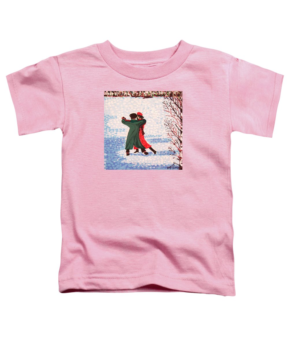Snow Toddler T-Shirt featuring the painting Snow Tango by Alan Hogan