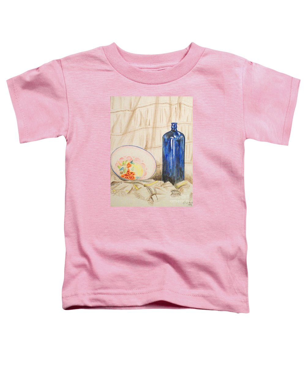 Still-life Toddler T-Shirt featuring the drawing Still-life With Blue Bottle by Alan Hogan