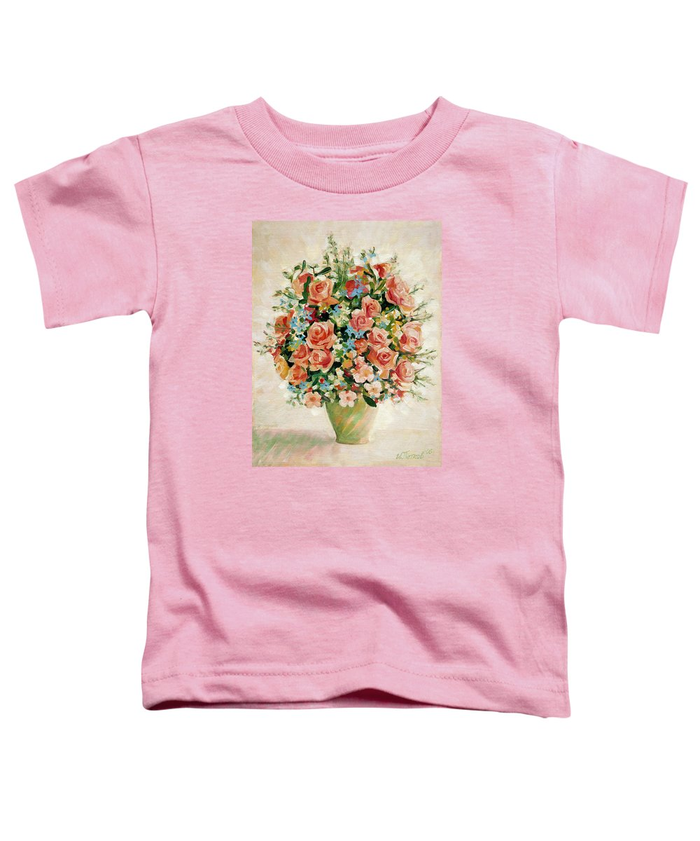 Flowers Toddler T-Shirt featuring the painting Still Life With Roses by Iliyan Bozhanov