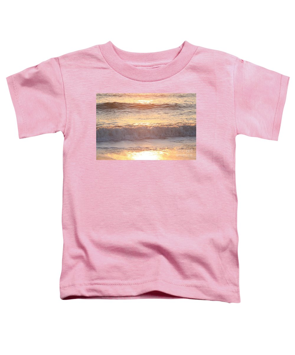 Waves Toddler T-Shirt featuring the photograph Sunrise Waves by Nadine Rippelmeyer