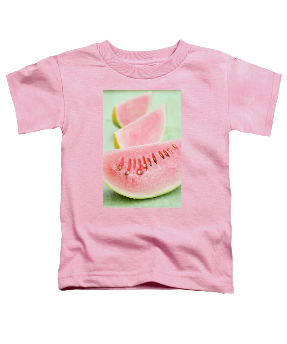 Blur Toddler T-Shirt featuring the photograph Three Wedges Of Watermelon by Foodcollection