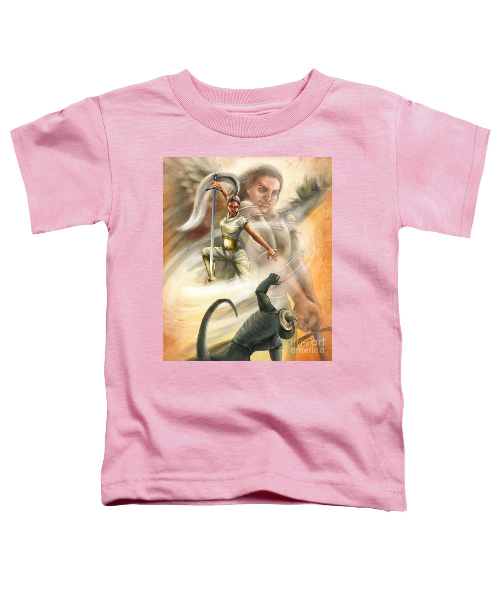 Christian Painting Toddler T-Shirt featuring the digital art Warrior by Tamer and Cindy Elsharouni