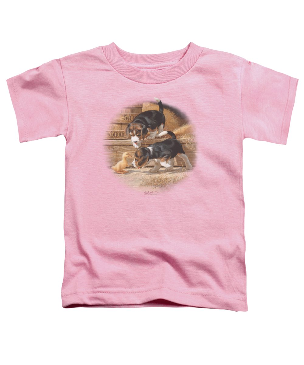 Wildlife Toddler T-Shirt featuring the digital art Wildlife - Getting Acquainted by Brand A