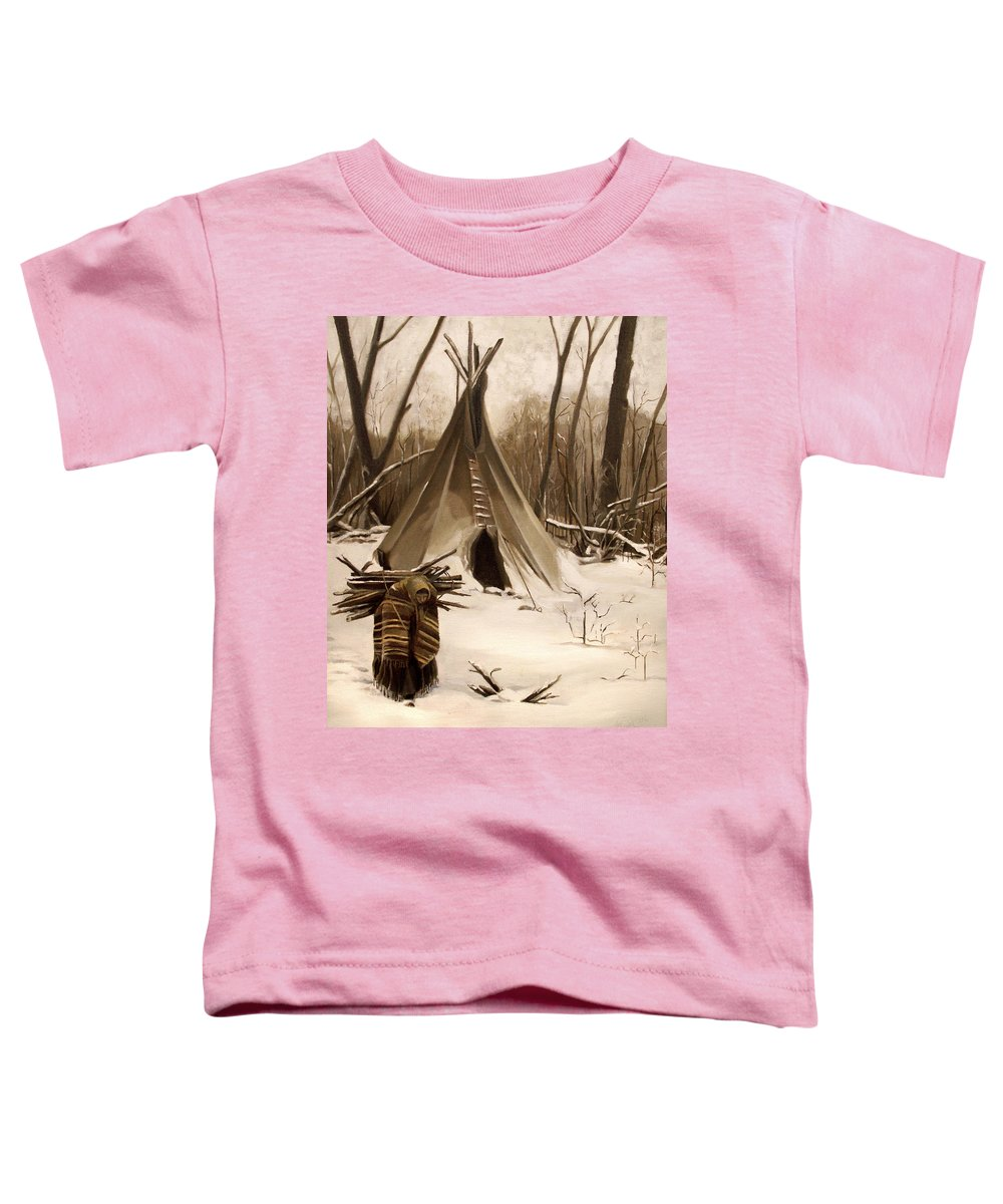 Native American Toddler T-Shirt featuring the painting Wood Gatherer by Nancy Griswold