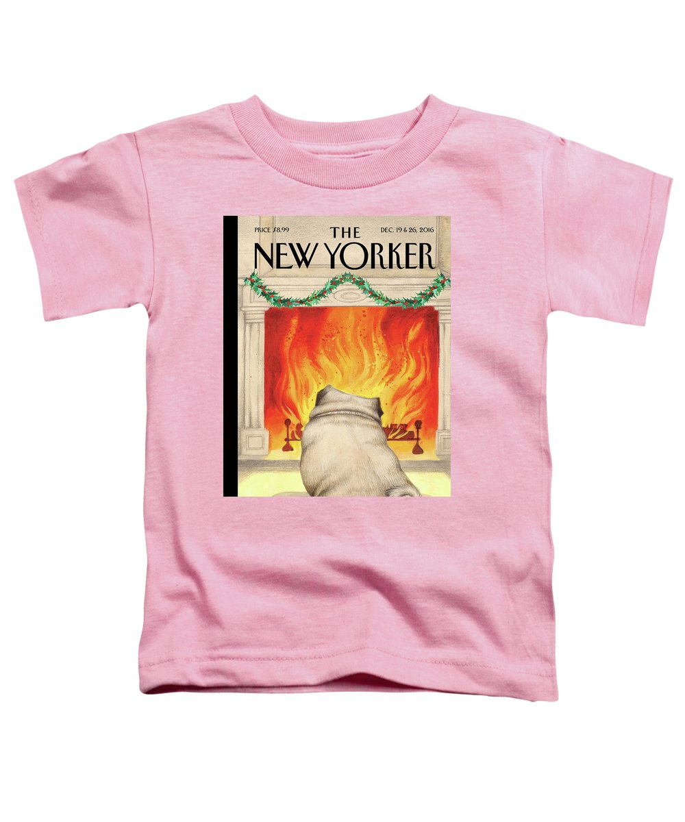 Pug Toddler T-Shirt featuring the painting Yule Dog by Ana Juan