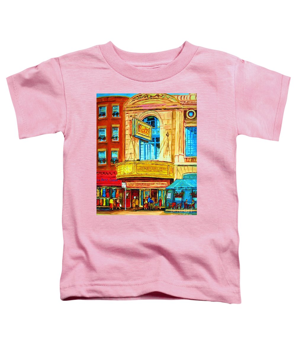 Street Scene Toddler T-Shirt featuring the painting The Rialto Theatre by Carole Spandau
