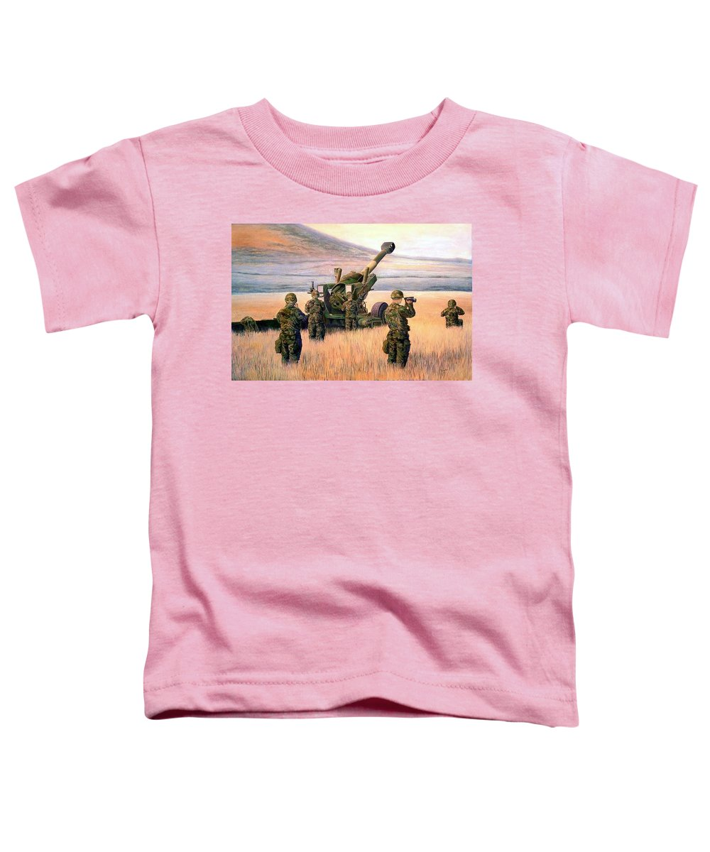 Signed And Numbered Prints Of The Montana National Guard Toddler T-Shirt featuring the print 1-190th Artillery by Scott Robertson