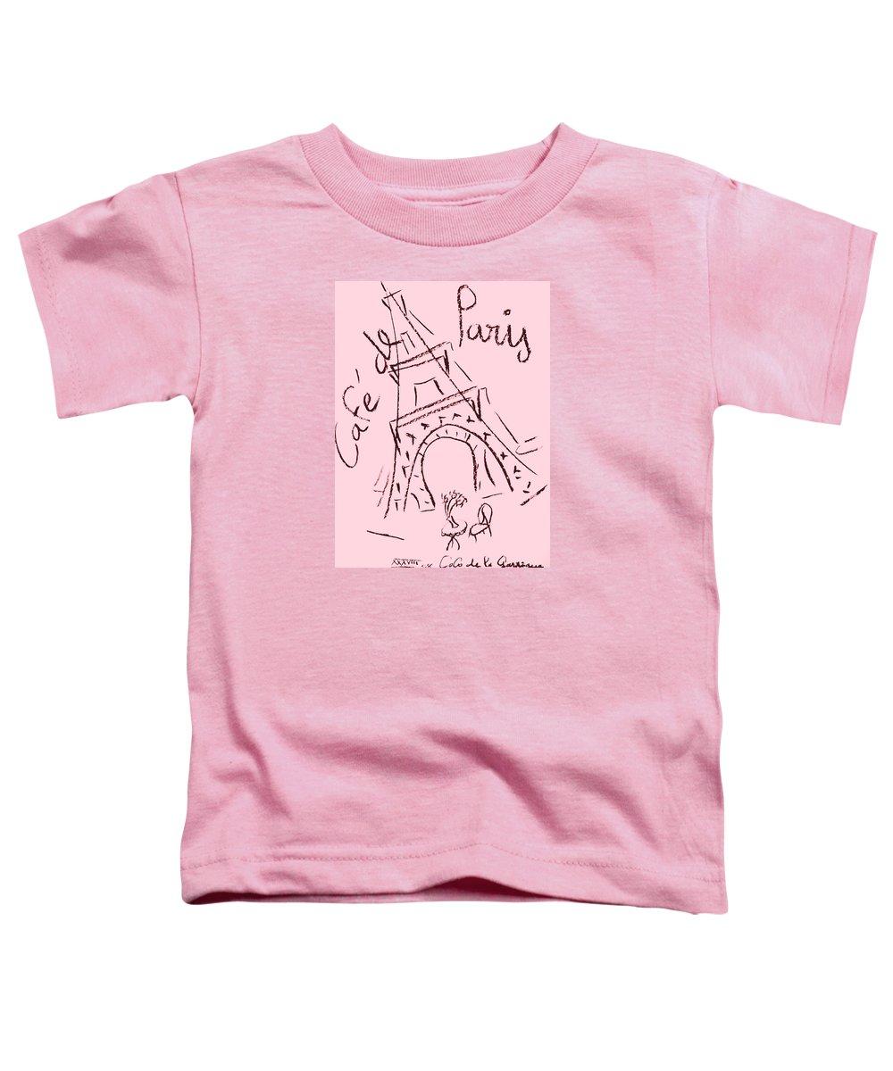 Eiffel Tower. Toddler T-Shirt featuring the digital art Cafe De Paris by Coco de la Garrigue