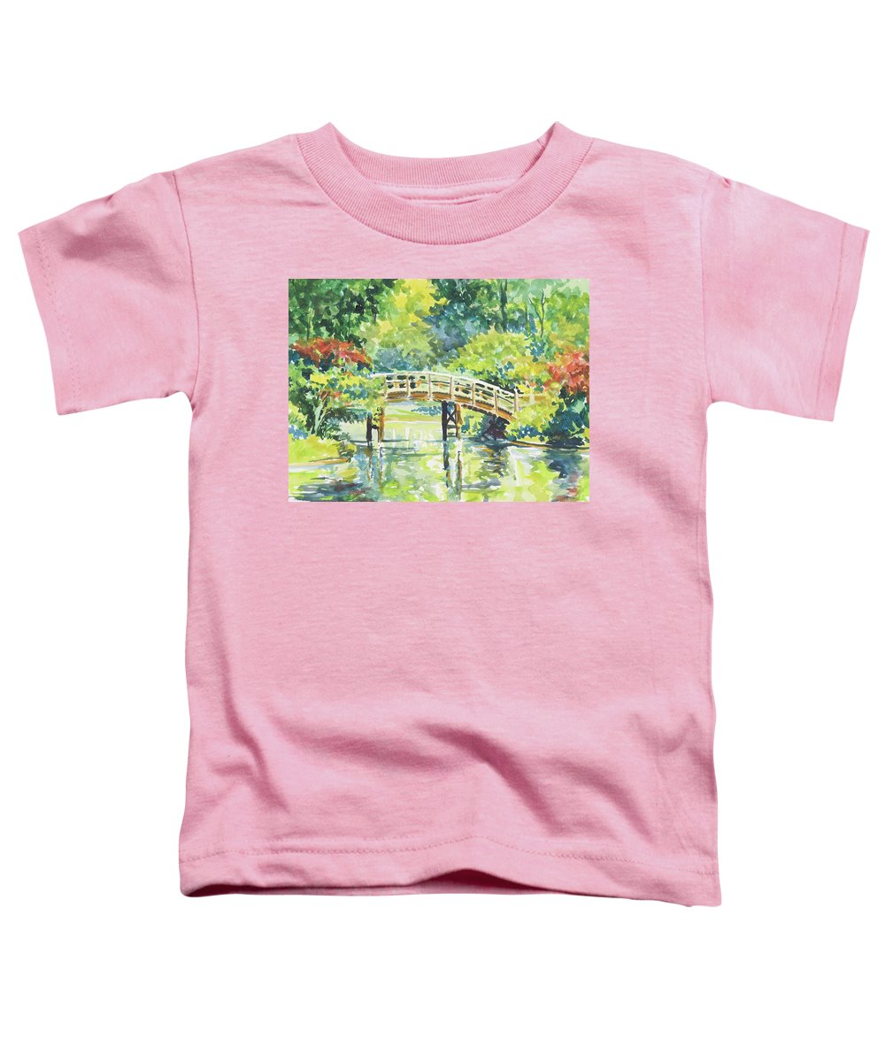 Missouri Botanical Garden Toddler T-Shirt featuring the painting 159 Mobot Japanese Bridge by Marilynne Bradley