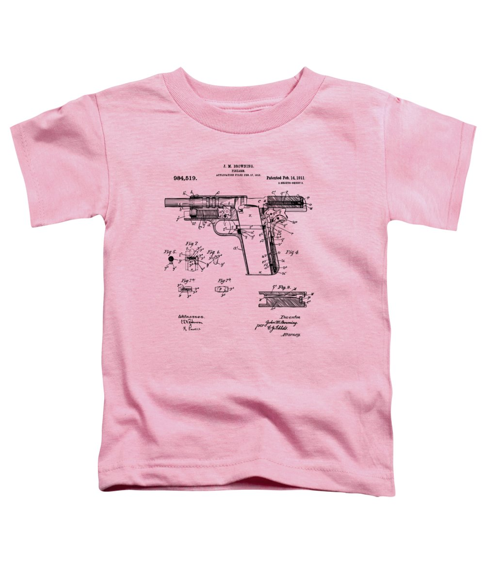 Colt 45 Toddler T-Shirt featuring the digital art 1911 Colt 45 Browning Firearm Patent 2 Artwork Vintage by Nikki Marie Smith