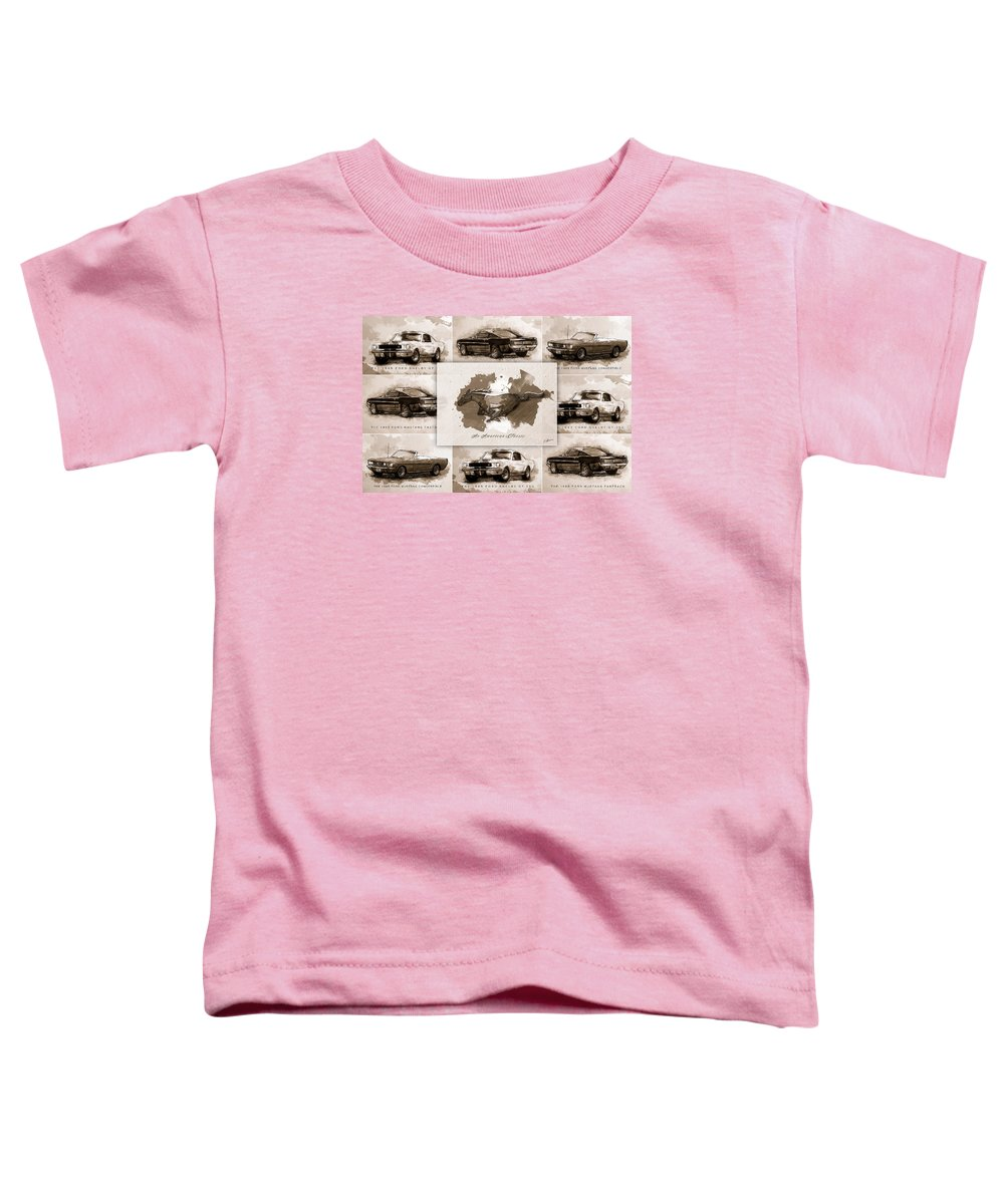 Mustang Toddler T-Shirt featuring the digital art The 1965 Ford Mustang Collage I by Gary Bodnar