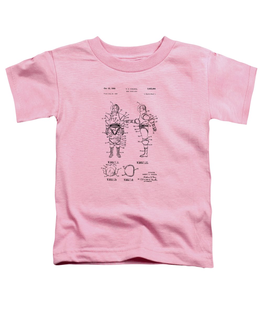 Space Suit Toddler T-Shirt featuring the digital art 1968 Hard Space Suit Patent Artwork - Vintage by Nikki Marie Smith