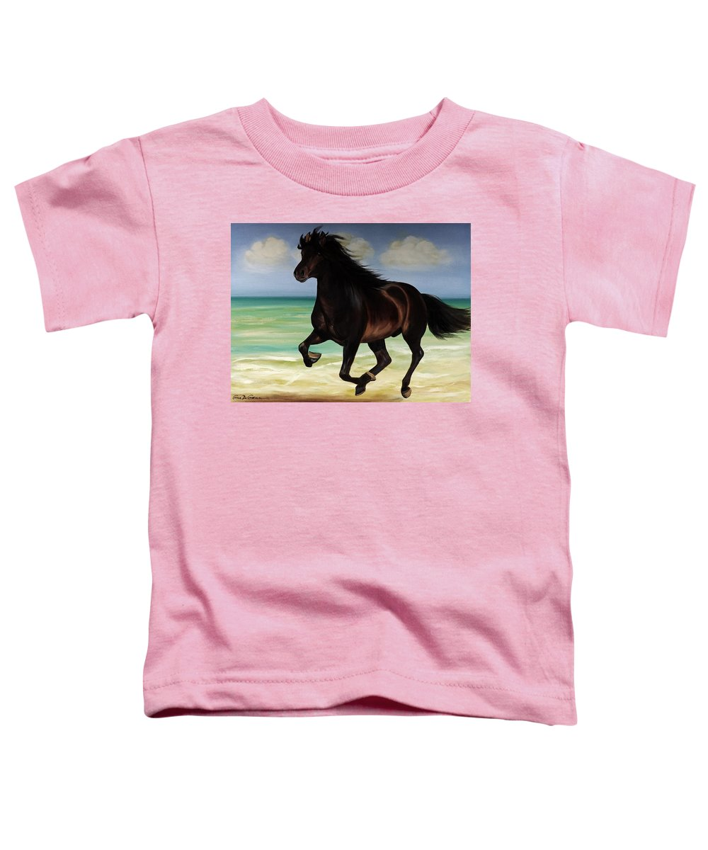 Horse Toddler T-Shirt featuring the painting Horses In Paradise Run by Gina De Gorna