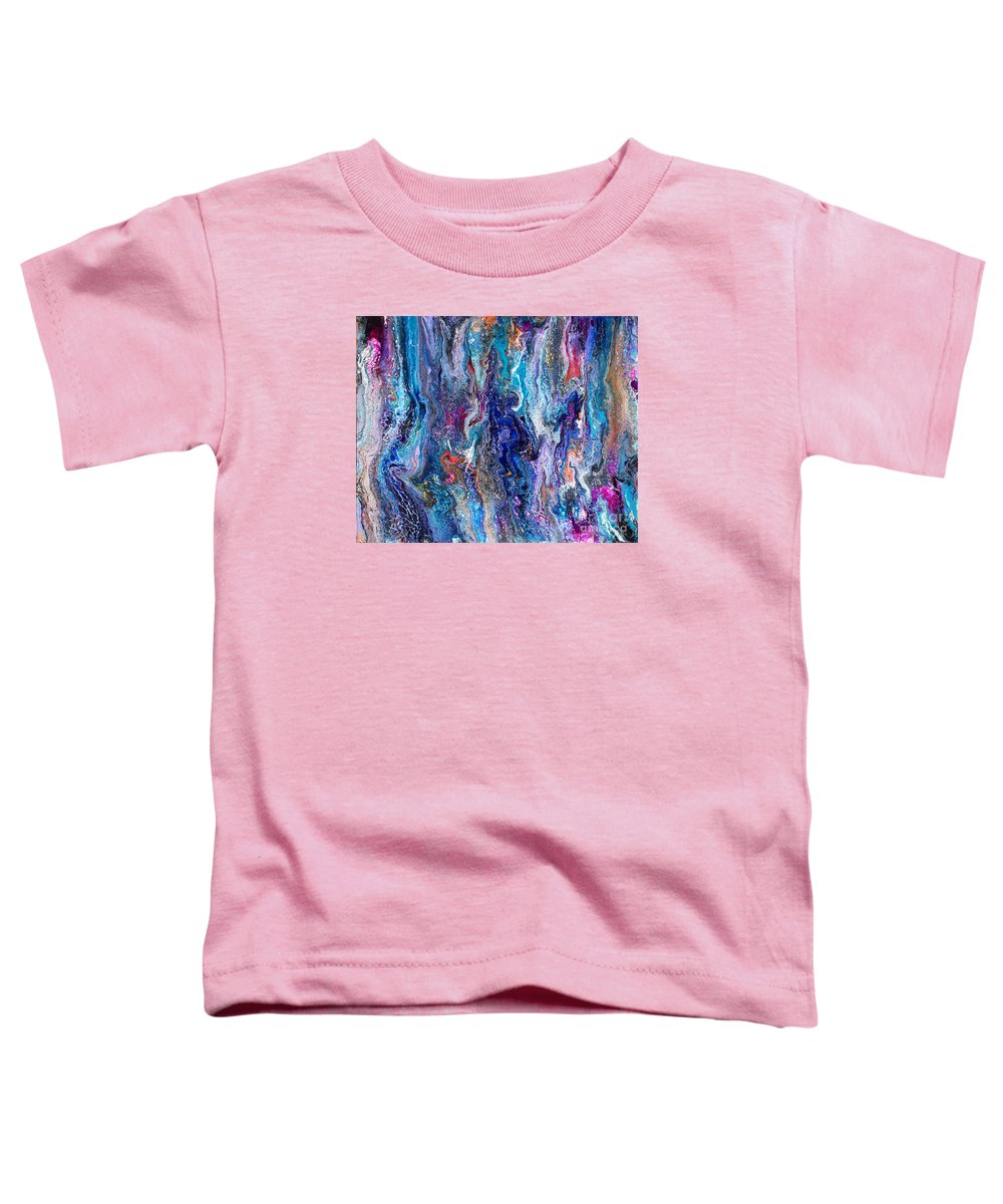Original Abstract Dynamic Lacy Blue Liquid Art Form Swipe Full Of Seductive Texture And Intrigue With Pink Orange Purple Black Accents Toddler T-Shirt featuring the painting #542 by Priscilla Batzell Expressionist Art Studio Gallery