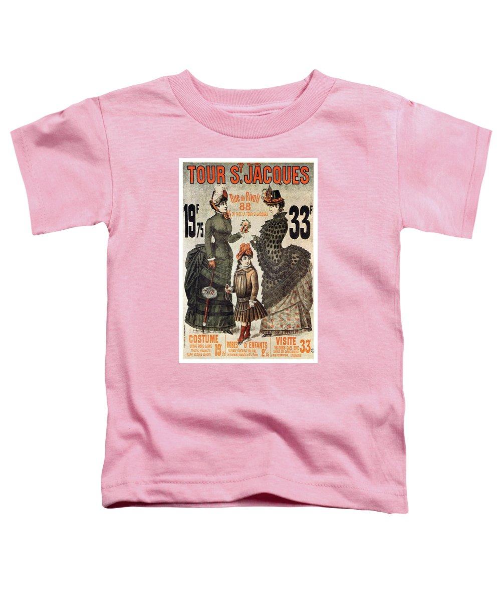 Tour St.jacques Toddler T-Shirt featuring the mixed media A La Tour St.jacques - Rue De Rivoli - Vintage Fashion Advertising Poster - Paris, France by Studio Grafiikka