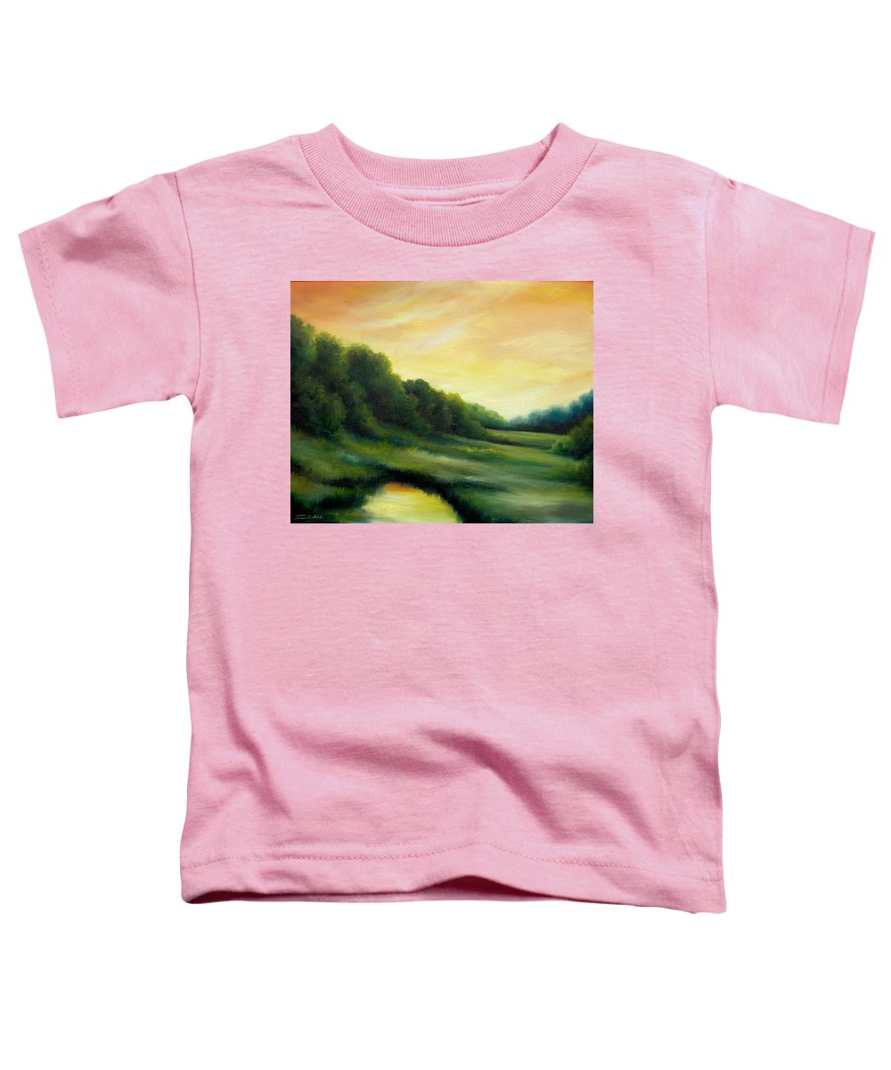 Clouds Toddler T-Shirt featuring the painting A Spring Evening Part Two by James Christopher Hill