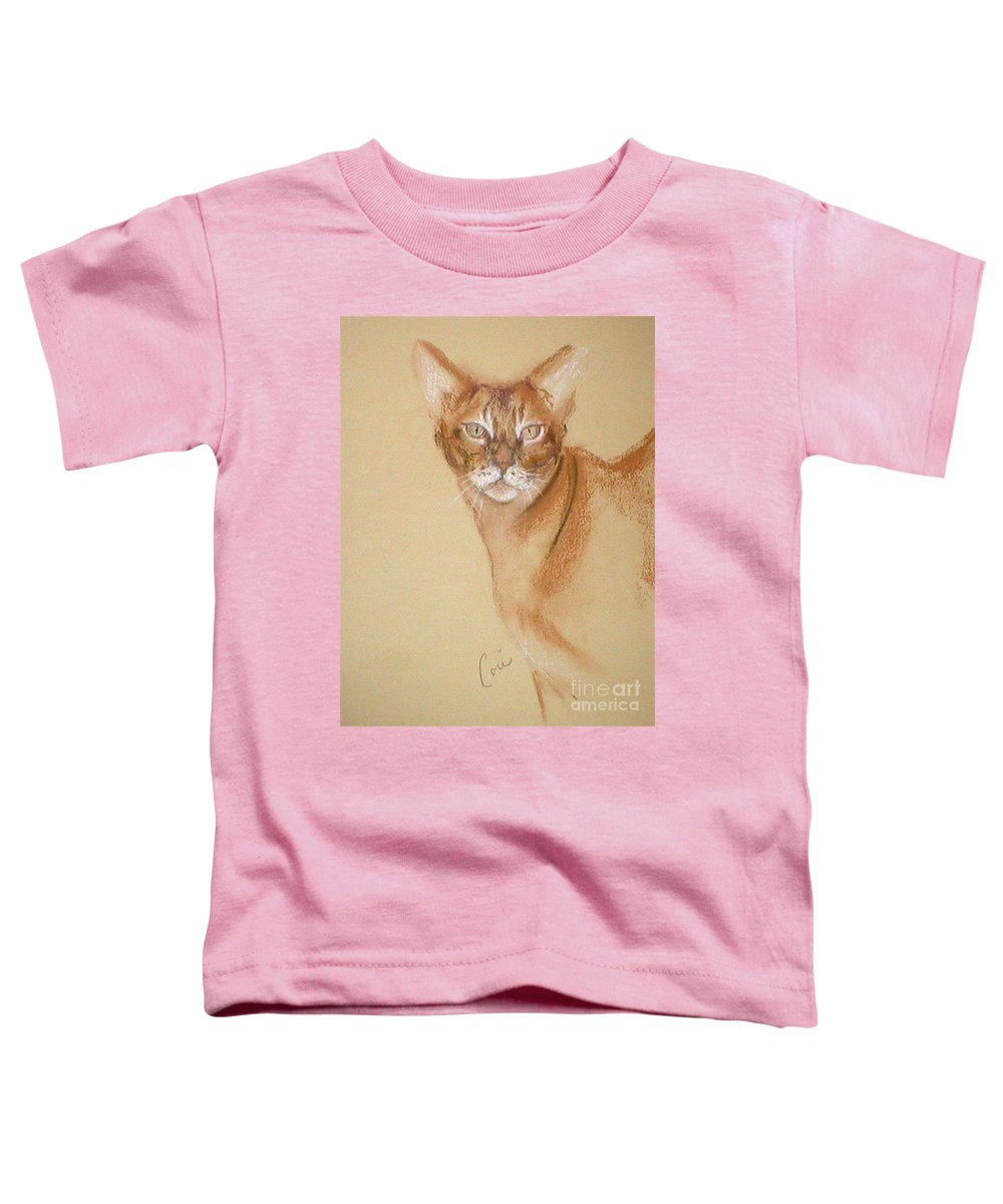 Pastel Toddler T-Shirt featuring the drawing Abyssinian by Cori Solomon
