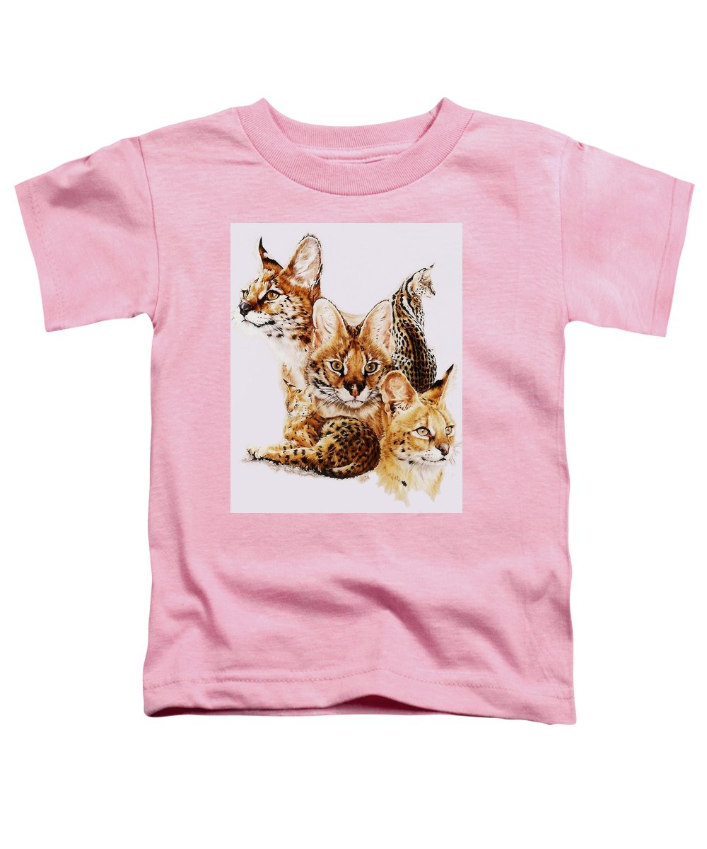 Serval Toddler T-Shirt featuring the drawing Adroit by Barbara Keith