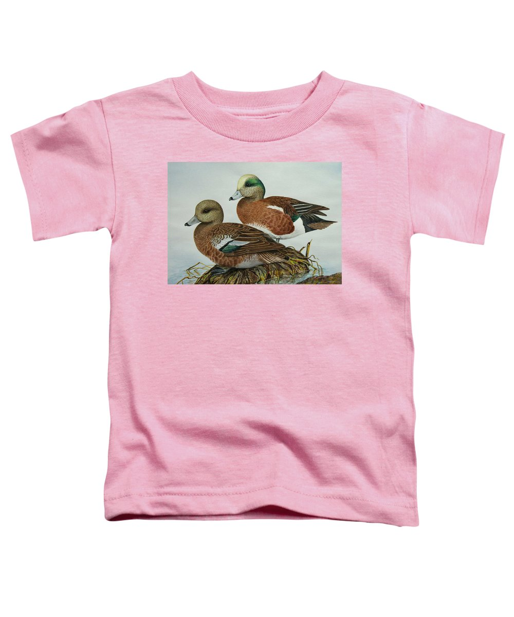 Ducks Toddler T-Shirt featuring the painting American Widgeons by Elaine Booth-Kallweit