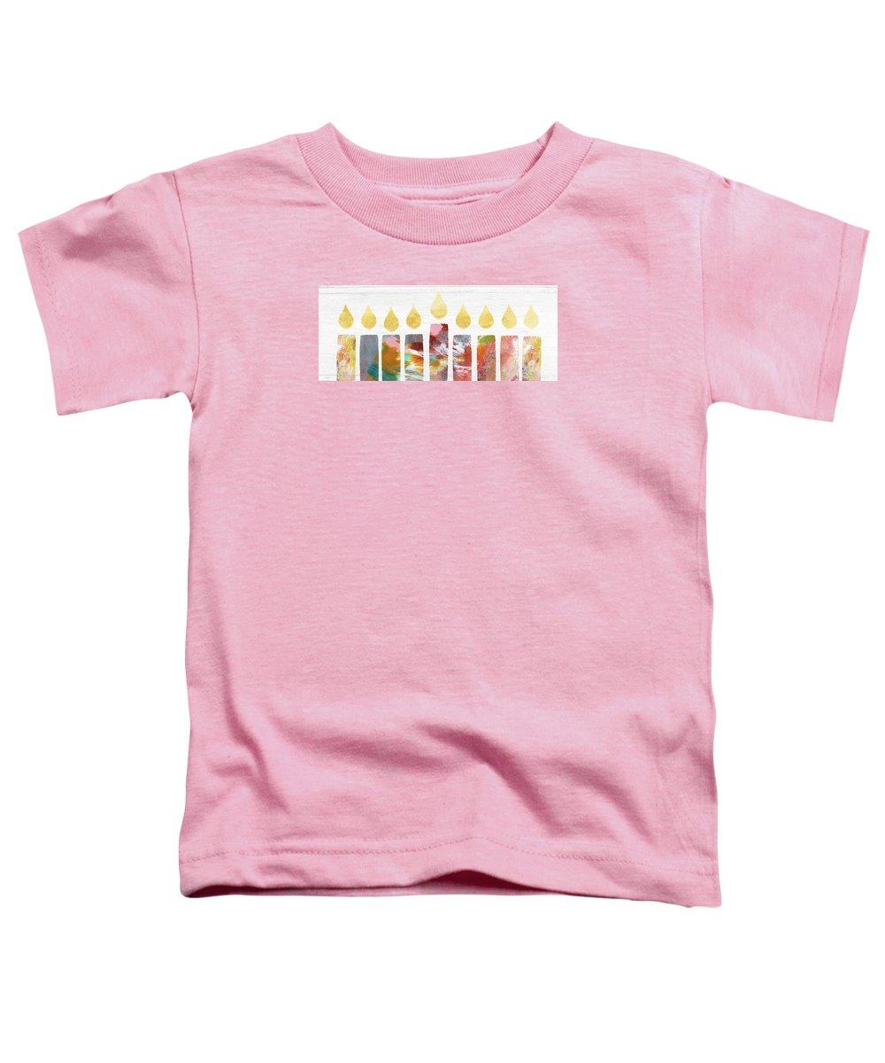 Menorah Toddler T-Shirt featuring the painting Artists Menorah- Art by Linda Woods by Linda Woods