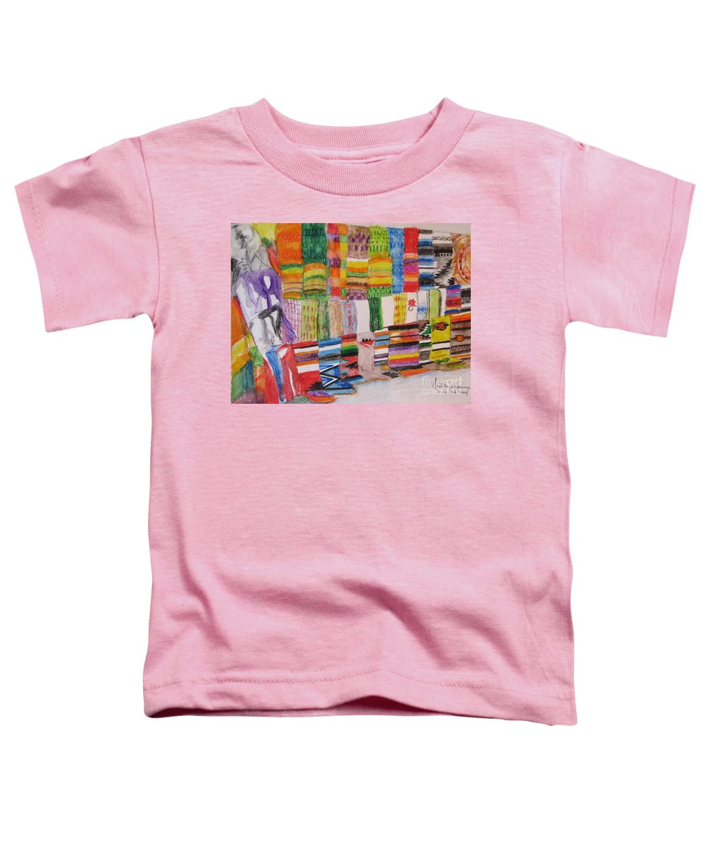 Bright Colors Toddler T-Shirt featuring the painting Bazaar Sabado - Gifted by Judith Espinoza