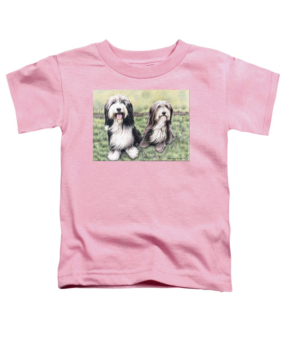 Dogs Toddler T-Shirt featuring the drawing Bearded Collies by Nicole Zeug