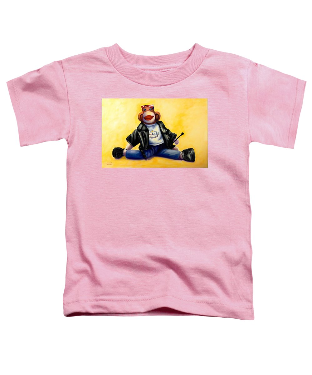 Sock Monkey Brown Toddler T-Shirt featuring the painting Biker Dude Made Of Sockies by Shannon Grissom