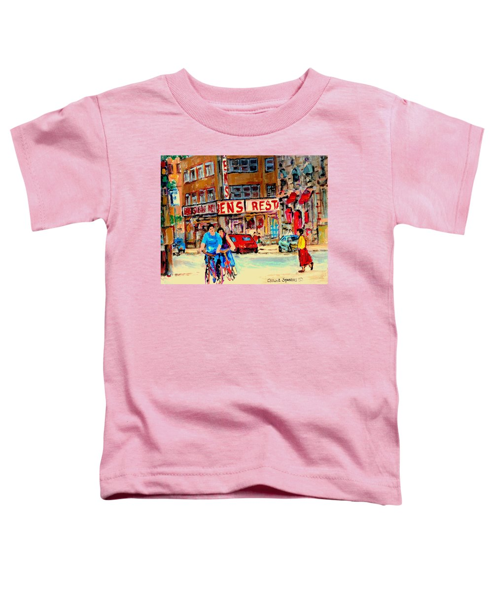 Montreal Toddler T-Shirt featuring the painting Biking Past Ben by Carole Spandau