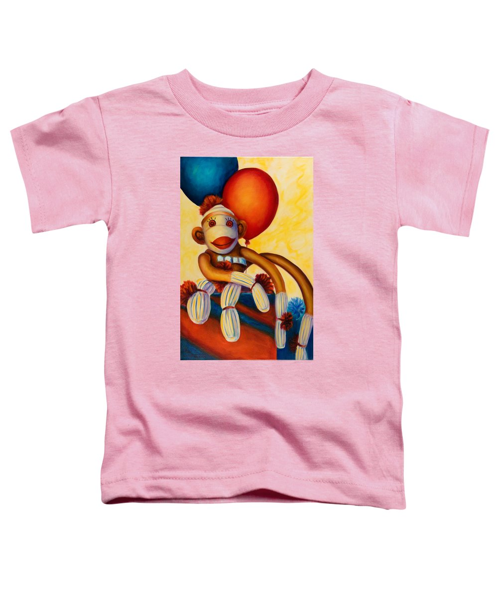 Sock Monkey Brown Toddler T-Shirt featuring the painting Birthday Made Of Sockies by Shannon Grissom
