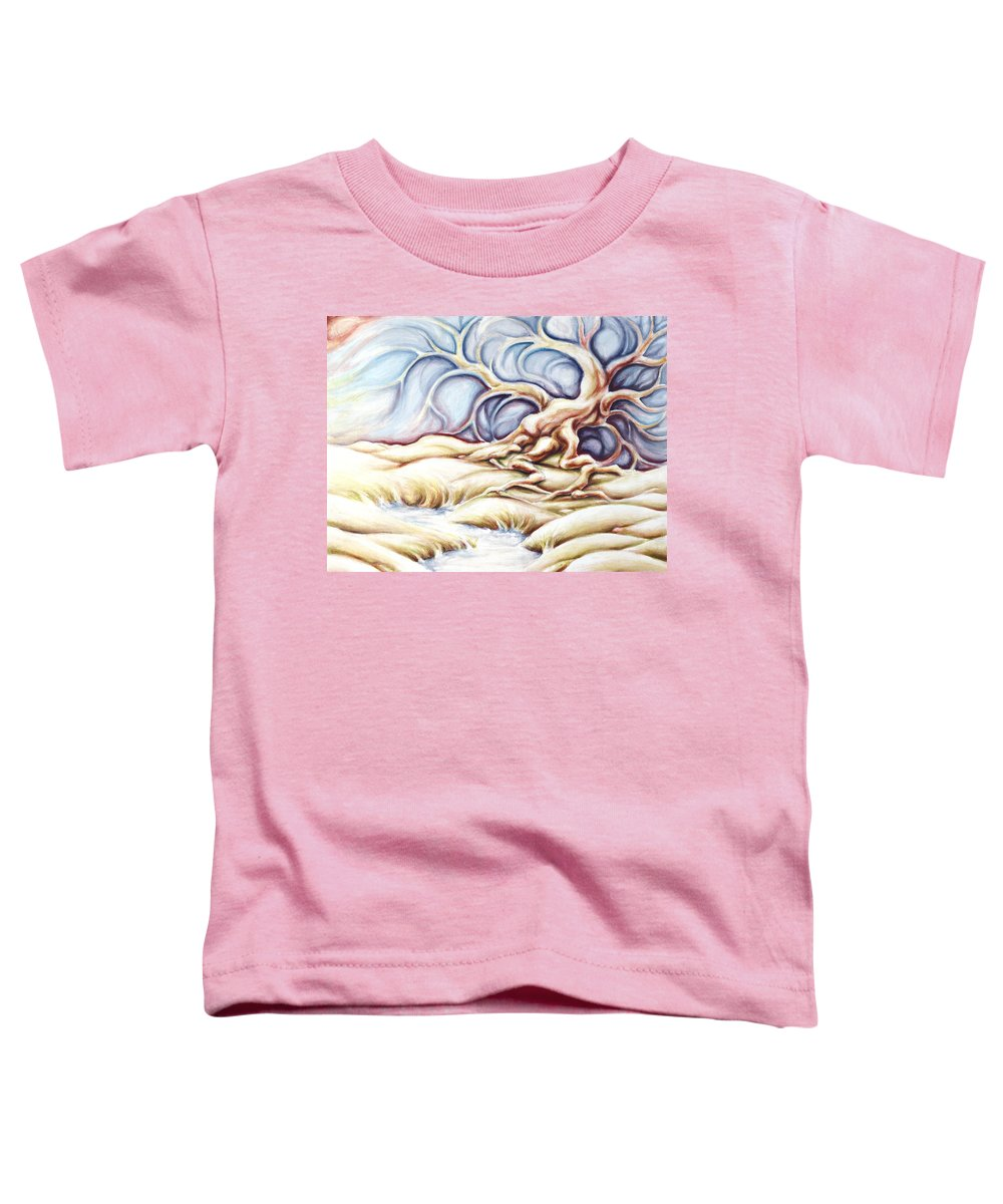 Acrylic Painting Toddler T-Shirt featuring the painting Blonde And Blue by Jennifer McDuffie