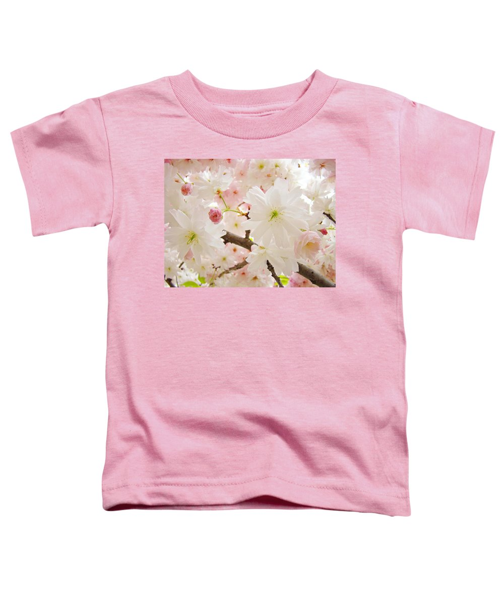 Nature Toddler T-Shirt featuring the photograph Blossoms Art Print 53 Sunlit Pink Tree Blossoms Macro Springtime Blue Sky by Baslee Troutman
