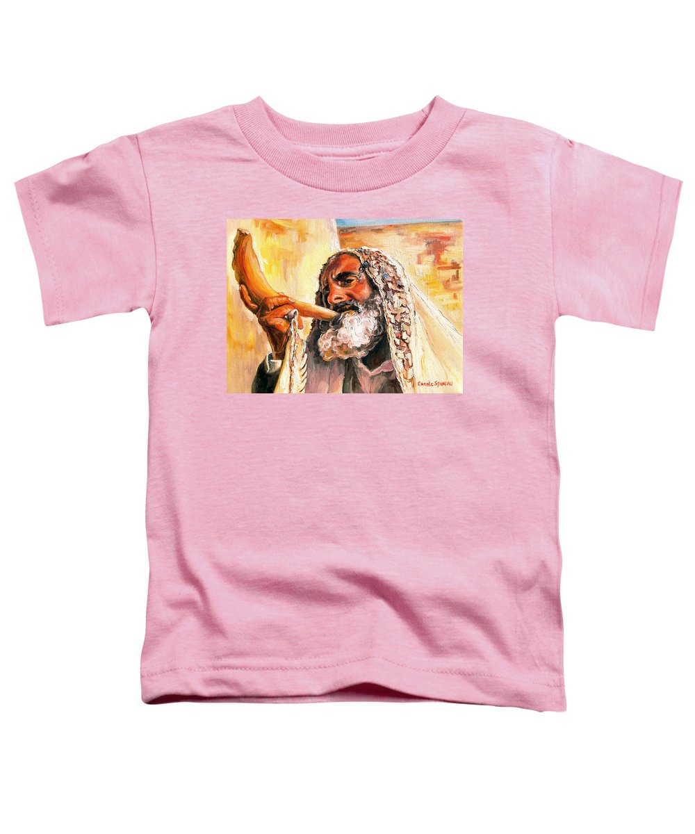 Rabbis Toddler T-Shirt featuring the painting Blow The Trumpet In Zion by Carole Spandau