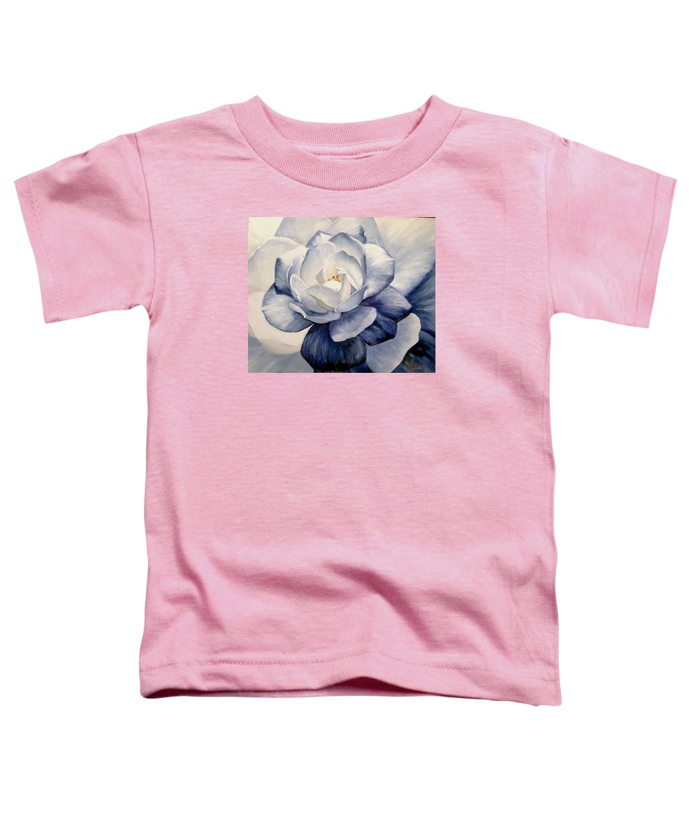Flower Macro Nature Blue Gardenia Toddler T-Shirt featuring the painting Blue by Natalia Tejera
